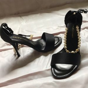 Shoes - COLIN STUART-pearl ankle strap-Black- small heel
